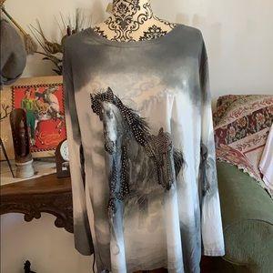 Designer long Sleeve Equine Blouse